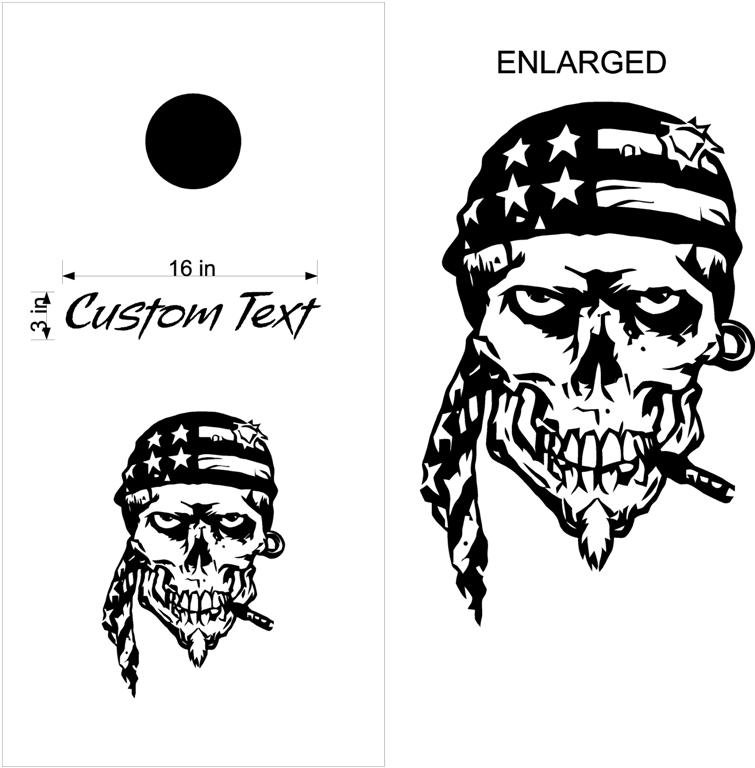 Custom Cornhole Board Decals Stickers Skulls & Jokers 01