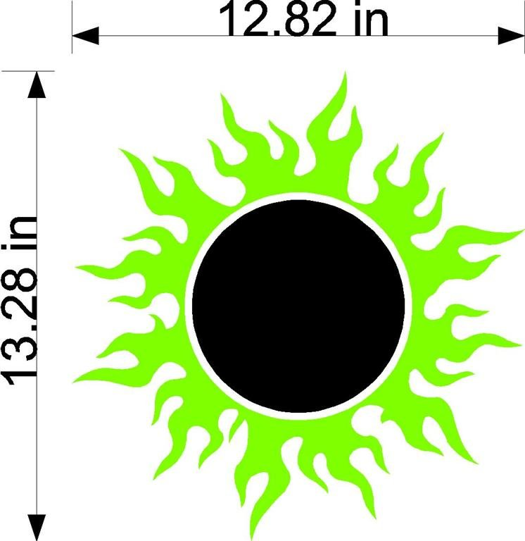 Sun Flames Cornhole Board Decals Stickers Circle And Lines