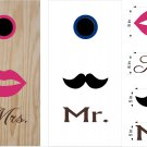 Lips Mustache Wedding Anniversary Cornhole Board Decals Stickers Graphics Wraps