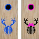 Deer Initial Cornhole Board Decals Stickers Graphics Wraps Bean Bag Toss Baggo