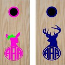 Buck Deer Initial Cornhole Board Decals Stickers Graphics Wraps Bean Bag Toss Baggo