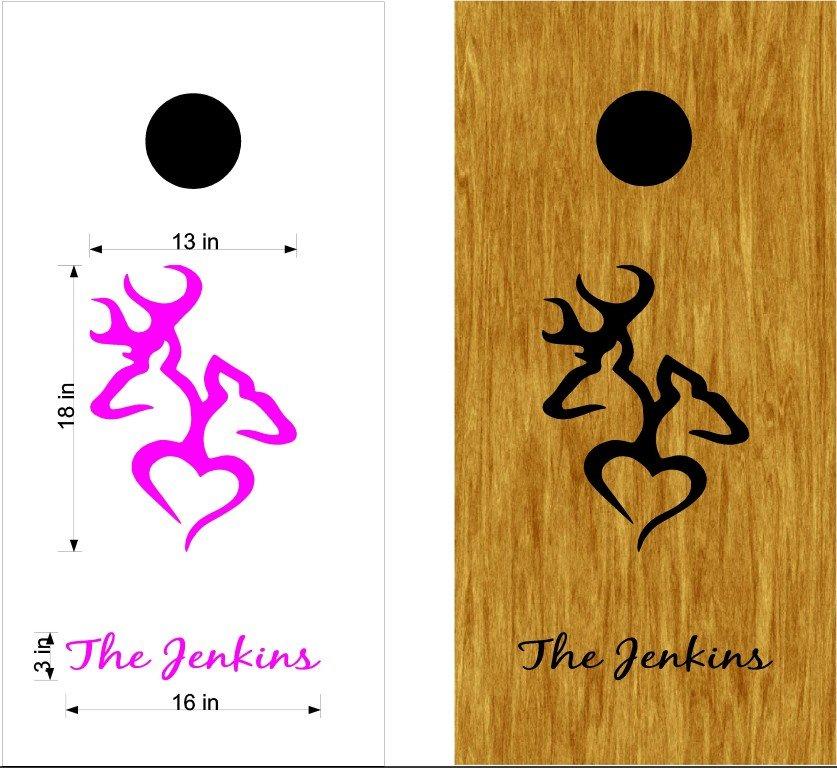 Deer Heart Kissing Cornhole Board Decals Stickers Graphics Wraps Bean Bag Toss Baggo