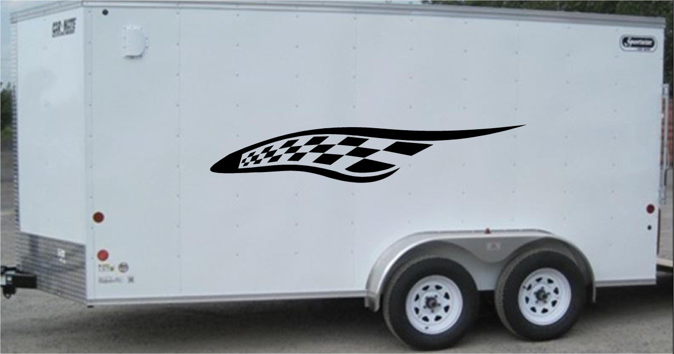 Checkered Flag Side Decal Set Racing Enclosed Trailer Vinyl Sticker Graphics CF003