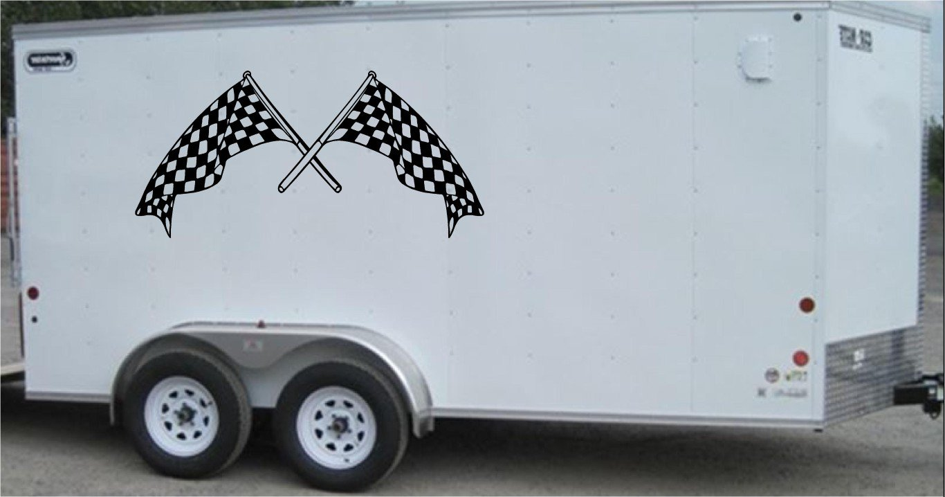 Checkered Flag Team Name Racing Enclosed Trailer Vinyl Stickers Decals Graphics FREE SHIPPING c002