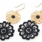 FREE Shipping Idit Stern Black And Gold Flower Earrings