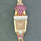 Vintage ESKA 14K Rose Gold, Ruby & Diamond Ladies Watch, 17 Jewel Swiss Movement