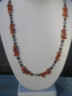 Coral Chips with Bali Silver and wood beads