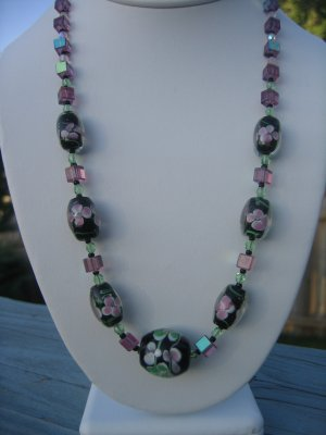 Black Pink and Green Lampwork Flowers with Swarovski Cubes