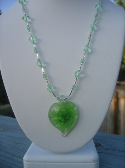 Green Lampwork Glass Flower with silver and green accents