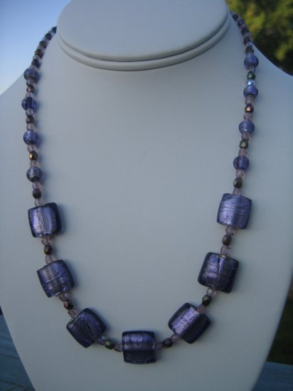 Purple Foil Beads with Czech Glass