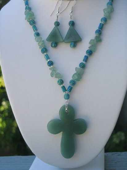 Aventurine Cross necklace with matching earrings