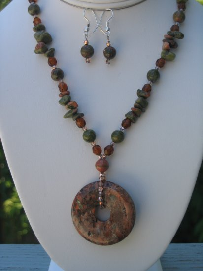 Jasper with Amber and Copper colored Czech Glass