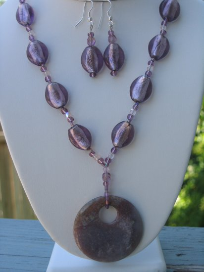Purple Jasper and glass foil beads