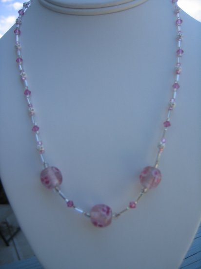 Pink Lampwork Flower and Swarovski Crystal Necklace