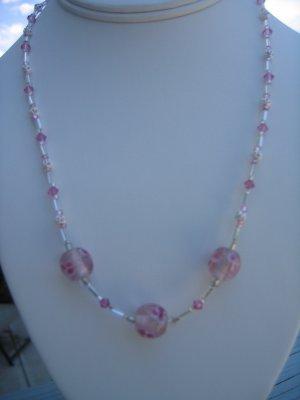Pink Lampwork Flower and Swarovski Crystal Necklace
