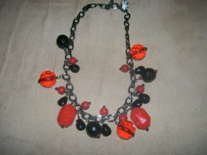 Red and Black Charm Necklace