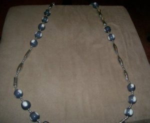 Blue and white bauble Necklace