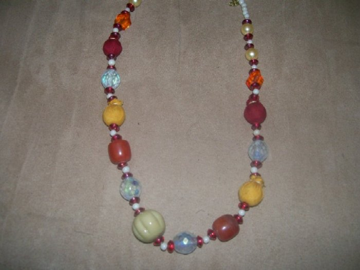 Multi colored beads and bauble necklace