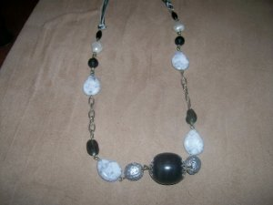 Silver and Black stone Necklace