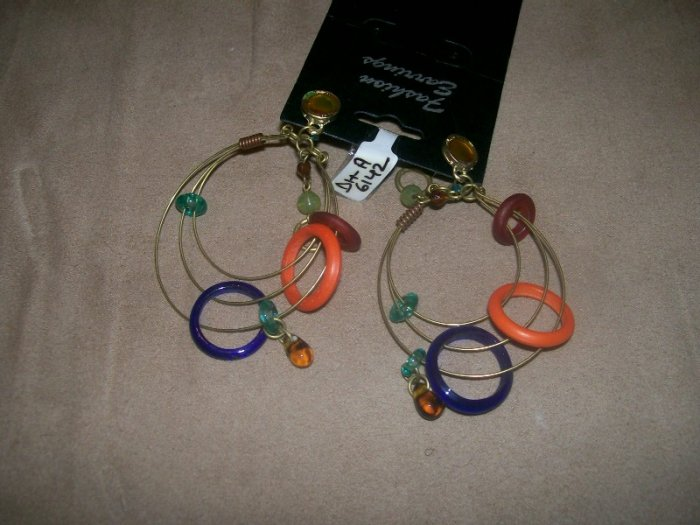 Multicolored hoop bead bracelet