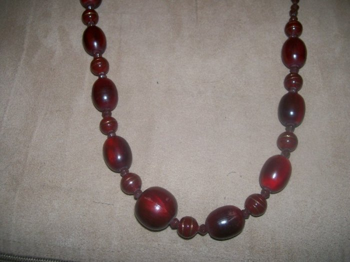 Dark red wood bead necklace