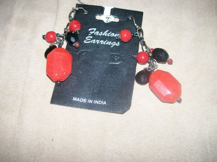 Red and Black Earring