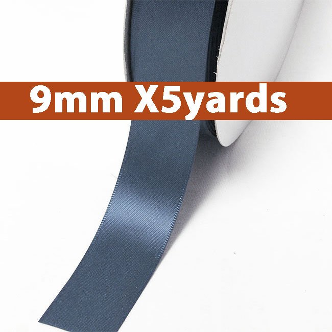 # 363 smoke blue Color 9mm Wide 5 Yards 5 Double Faced Satin Ribbon (#28800 X5 Yards)