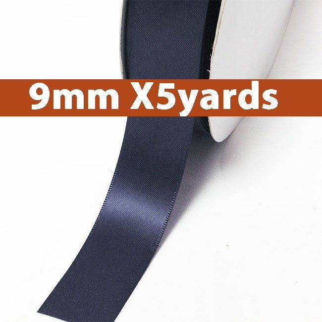# 370 navy Color 9mm Wide 5 Yards 5 Double Faced Satin Ribbon (#28800 X5 Yards)