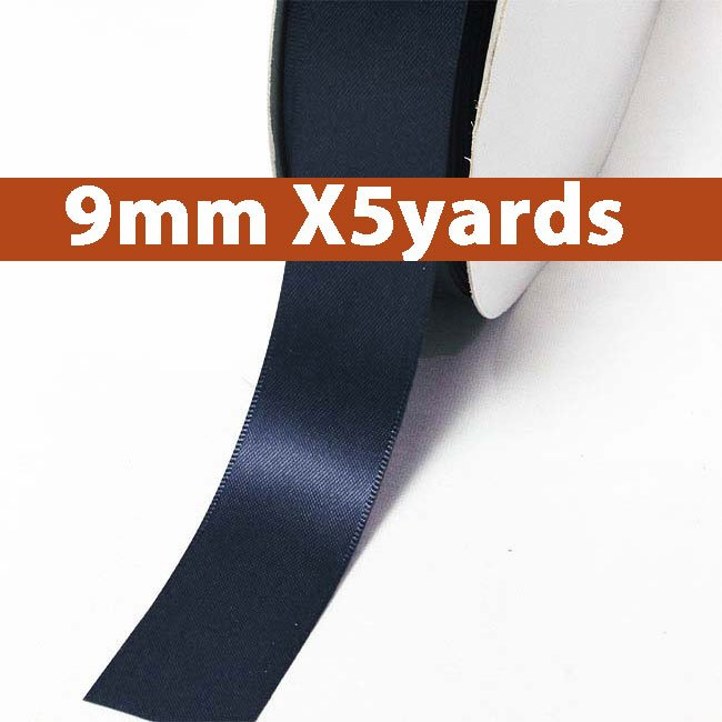 # 372 ensign blue Color 9mm Wide 5 Yards 5 Double Faced Satin Ribbon (#28800 X5 Yards)