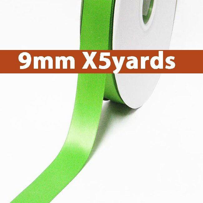 # 555 green flash Color 9mm Wide 5 Yards 5 Double Faced Satin Ribbon (#28800 X5 Yards)