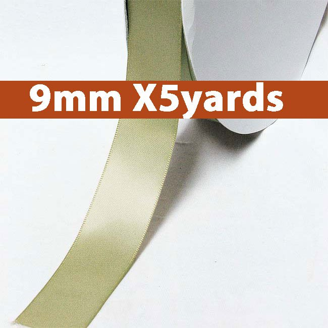 # 566 soft pine Color 9mm Wide 5 Yards 5 Double Faced Satin Ribbon (#28800 X5 Yards)