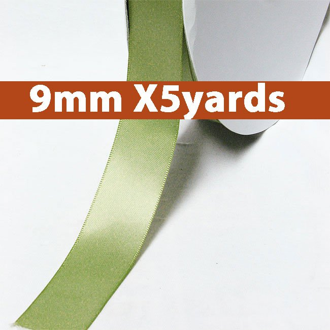 # 567 spring moss Color 9mm Wide 5 Yards 5 Double Faced Satin Ribbon (#28800 X5 Yards)