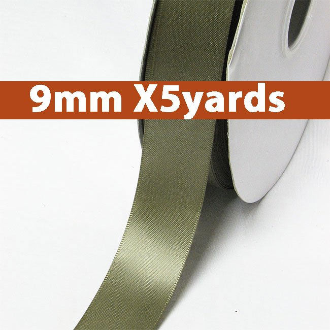 # 569 deep sage Color 9mm Wide 5 Yards 5 Double Faced Satin Ribbon (#28800 X5 Yards)