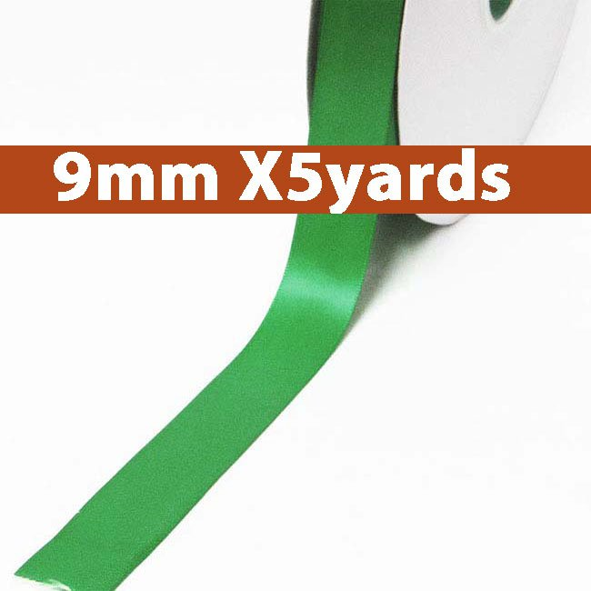 # 580 emerald Color 9mm Wide 5 Yards 5 Double Faced Satin Ribbon (#28800 X5 Yards)