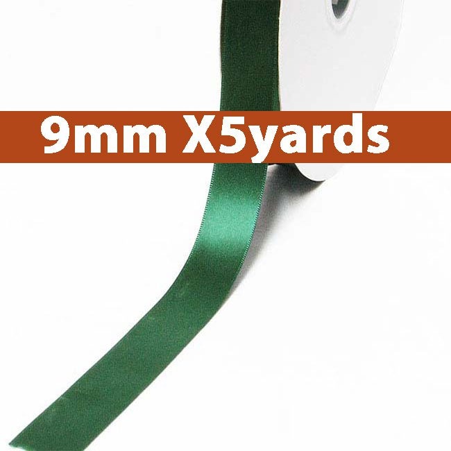 # 587 forest green Color 9mm Wide 5 Yards 5 Double Faced Satin Ribbon (#28800 X5 Yards)