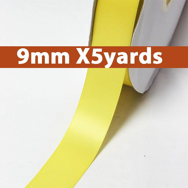 # 640 lemon Color 9mm Wide 5 Yards 5 Double Faced Satin Ribbon (#28800 X5 Yards)