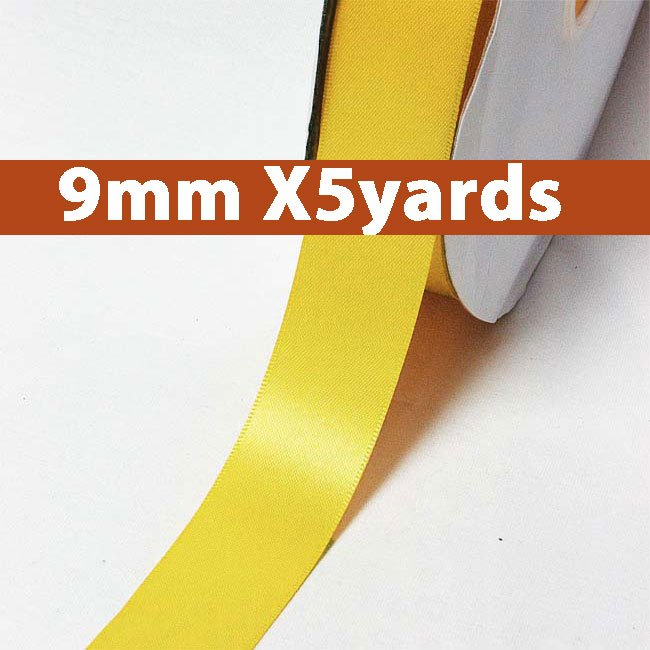 # 660 yellow gold Color 9mm Wide 5 Yards 5 Double Faced Satin Ribbon (#28800 X5 Yards)