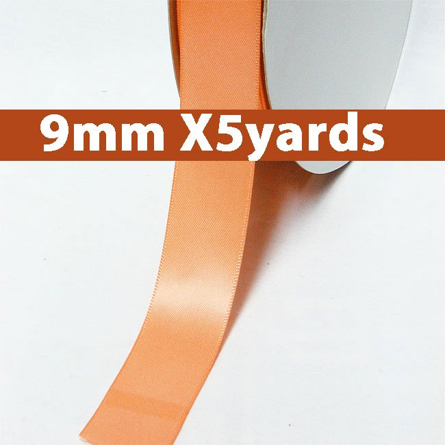 # 720 peach Color 9mm Wide 5 Yards 5 Double Faced Satin Ribbon (#28800 X5 Yards)