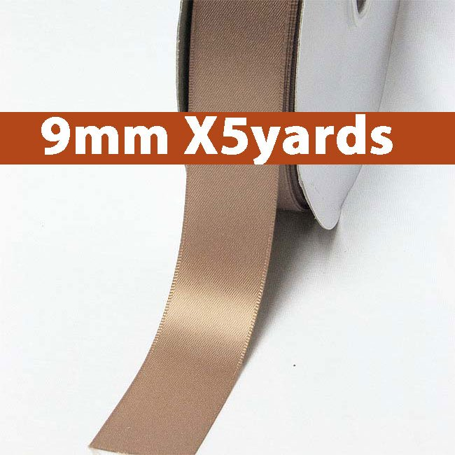 # 779 pecan brown Color 9mm Wide 5 Yards 5 Double Faced Satin Ribbon (#28800 X5 Yards)