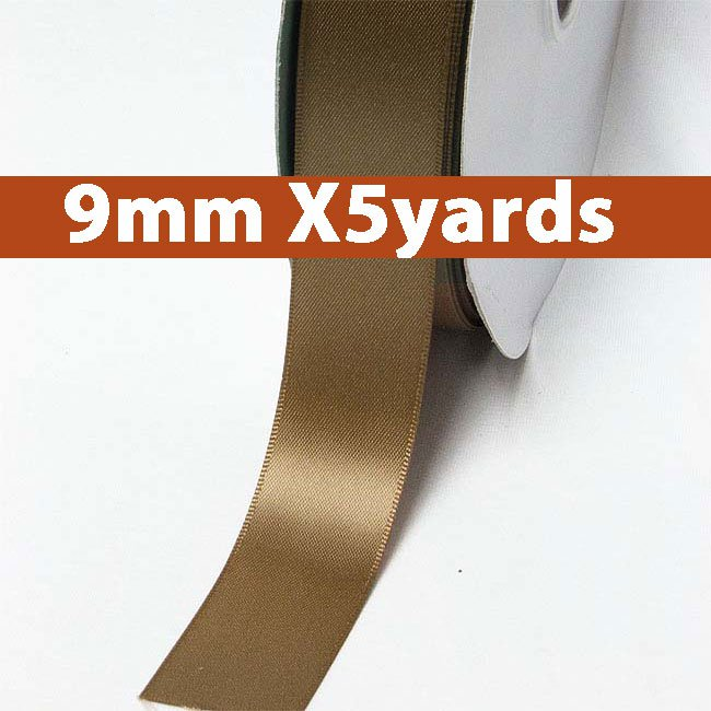 # 846 golden brown Color 9mm Wide 5 Yards 5 Double Faced Satin Ribbon (#28800 X5 Yards)