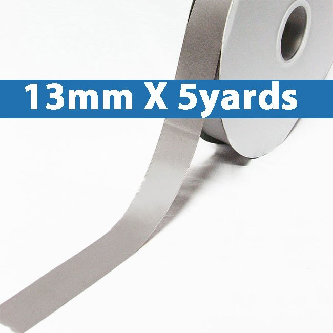 "# 012 silver Color 13mm/0.5"" Wide 5 Yards Double Faced Satin Ribbon (#28800 X5 Yards)"