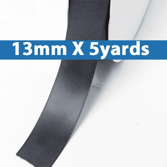 """# 077 charcoal Color 13mm/0.5"""" Wide 5 Yards Double Faced Satin Ribbon (#28800 X5 Yards)"""