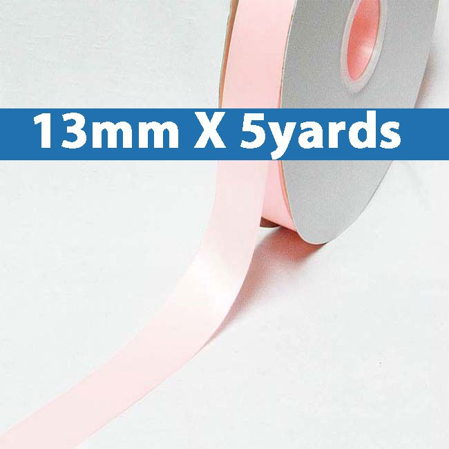 """# 115 powder pink Color 13mm/0.5"""" Wide 5 Yards Double Faced Satin Ribbon (#28800 X5 Yards)"""