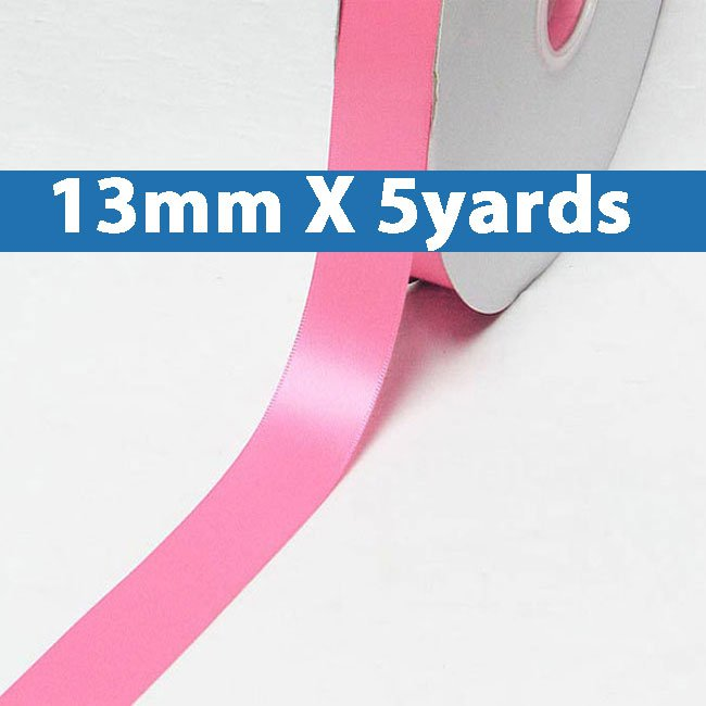 """# 155 geranium pink Color 13mm/0.5"""" Wide 5 Yards Double Faced Satin Ribbon (#28800 X5 Yards)"""