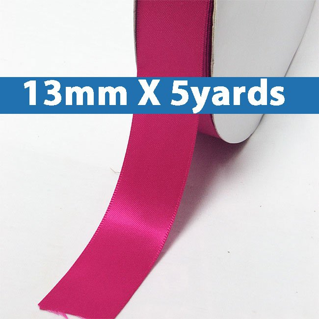 """# 187 azalea Color 13mm/0.5"""" Wide 5 Yards Double Faced Satin Ribbon (#28800 X5 Yards)"""