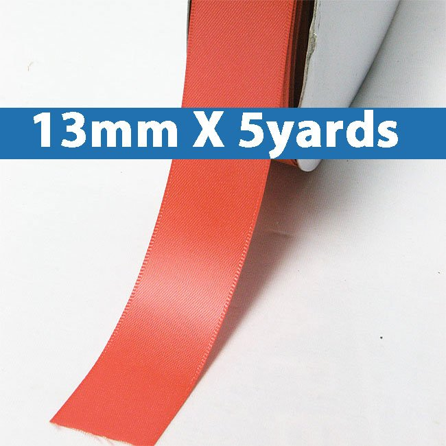 """# 243 watermelon Color 13mm/0.5"""" Wide 5 Yards Double Faced Satin Ribbon (#28800 X5 Yards)"""