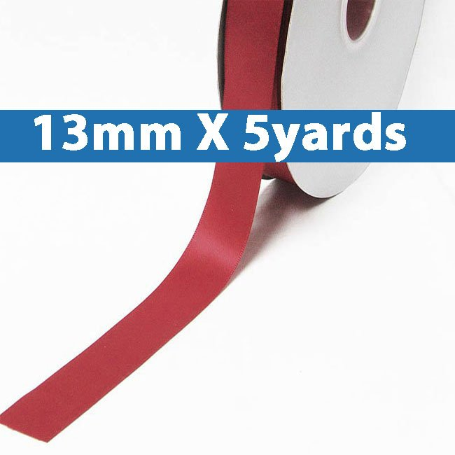 """# 264 ruby Color 13mm/0.5"""" Wide 5 Yards Double Faced Satin Ribbon (#28800 X5 Yards)"""