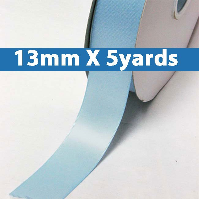 """# 311 blue mist Color 13mm/0.5"""" Wide 5 Yards Double Faced Satin Ribbon (#28800 X5 Yards)"""