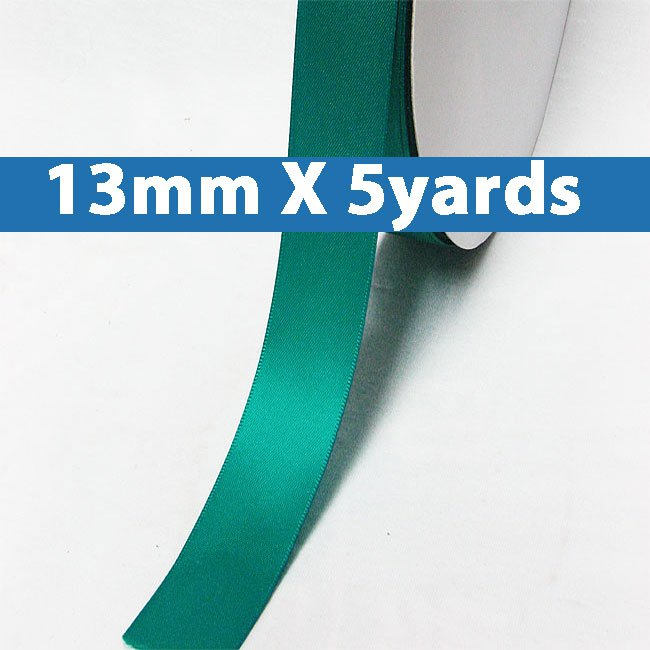 """# 343 tornado blue Color 13mm/0.5"""" Wide 5 Yards Double Faced Satin Ribbon (#28800 X5 Yards)"""