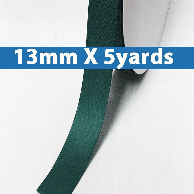 """# 347 teal Color 13mm/0.5"""" Wide 5 Yards Double Faced Satin Ribbon (#28800 X5 Yards)"""